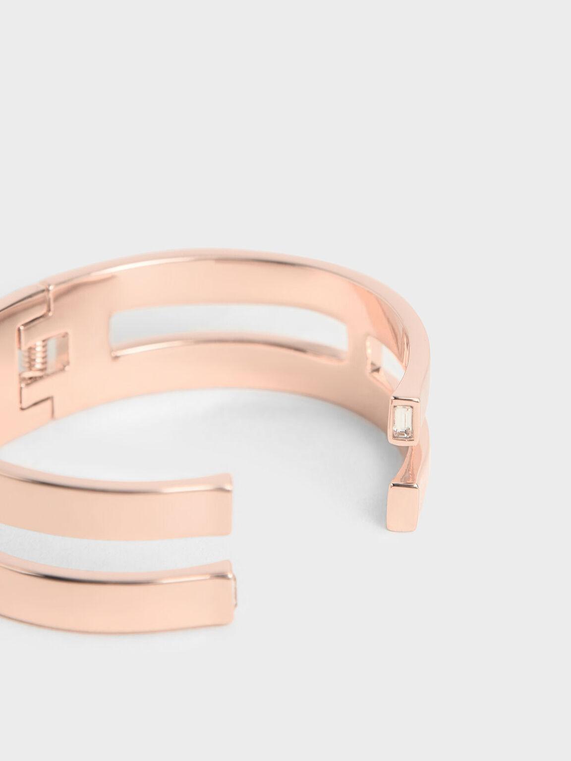 Swarovski® Crystal Double Cuff Bracelet, Rose Gold, hi-res