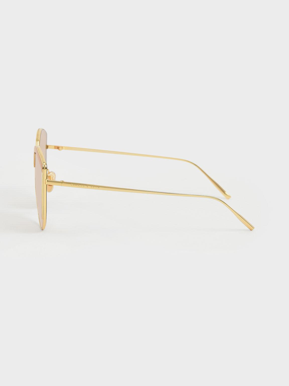 Thin Metal Frame Cat-Eye Sunglasses, Pink, hi-res