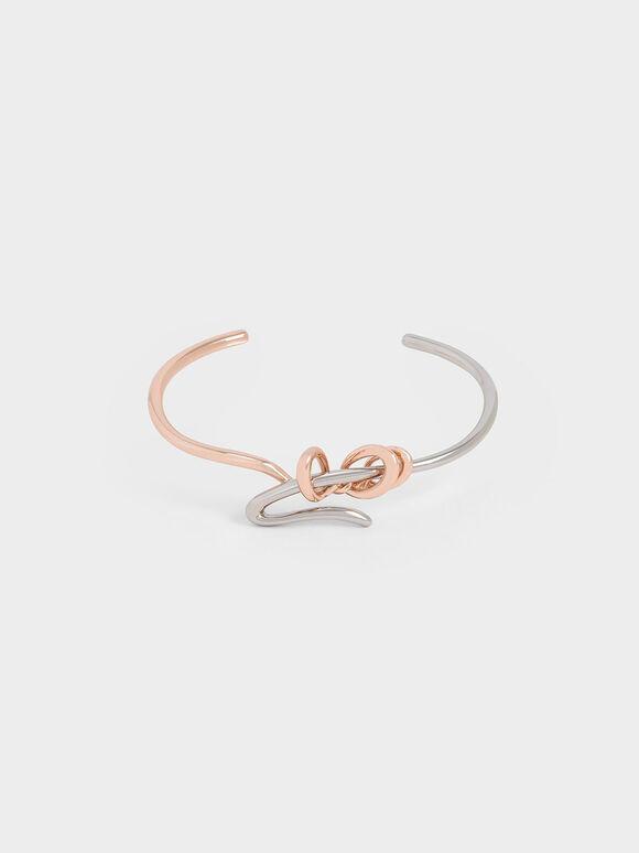 Two-Tone Sculptural Cuff Bracelet, Multi, hi-res
