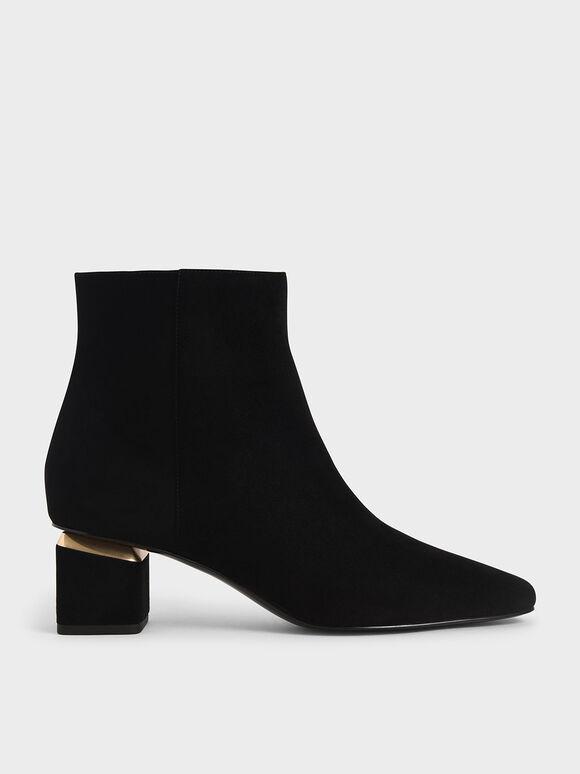 Block Heel Ankle Boots, Black Textured, hi-res