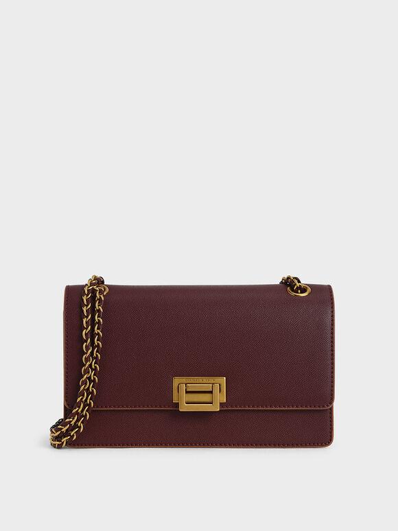 Chain Strap Push-Lock Shoulder Bag, Burgundy, hi-res