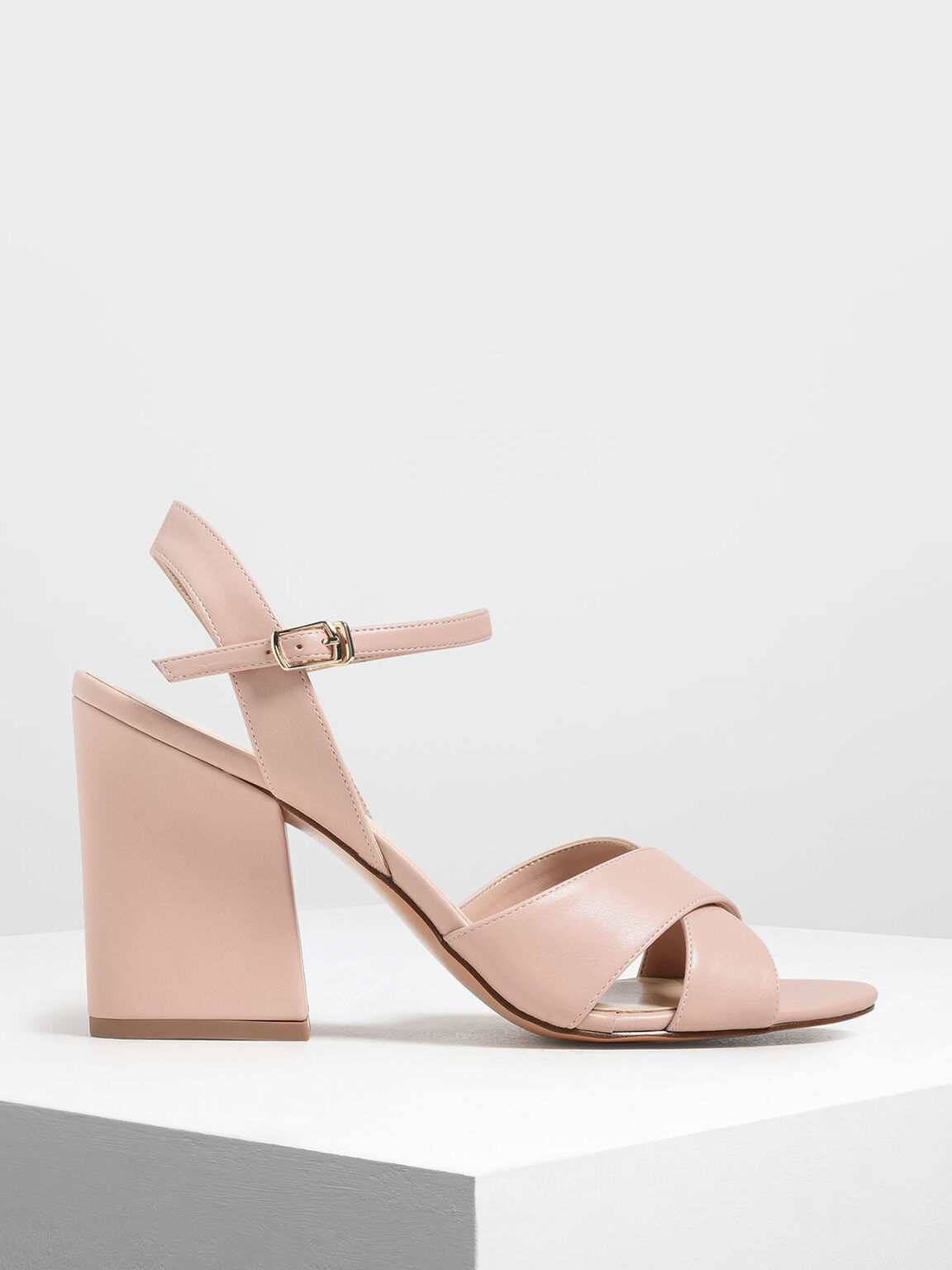 Criss Cross Block Heel Sandals, Blush, hi-res