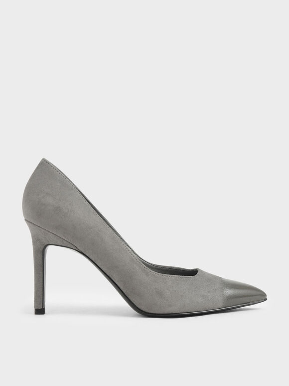 Brushed Effect Stiletto Pumps, Grey, hi-res