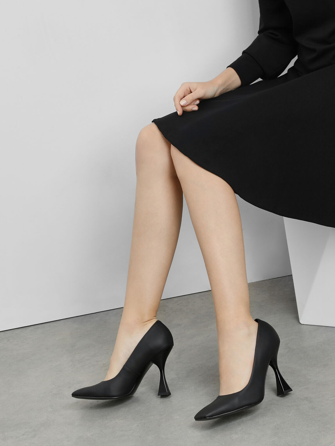 Square Toe Geometric Heel Pumps, Black, hi-res