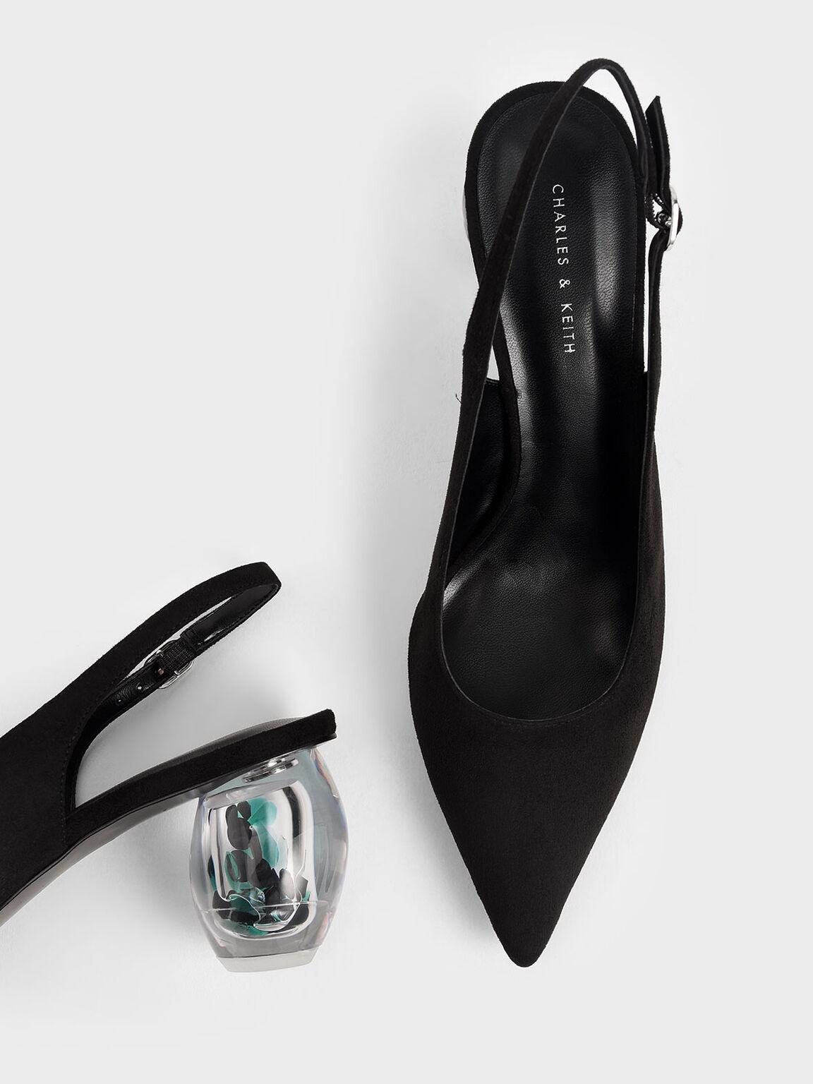 Textured Sculptural Heel Slingback Court Shoes, Black, hi-res