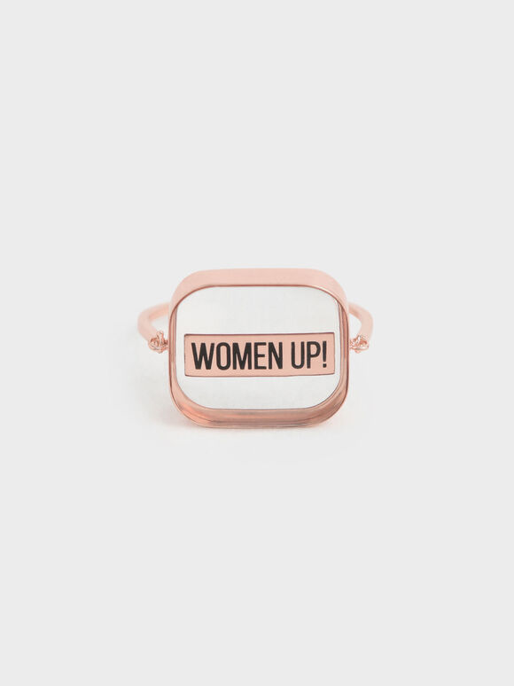 """WOMEN UP!"" Acrylic Ring, Rose Gold, hi-res"