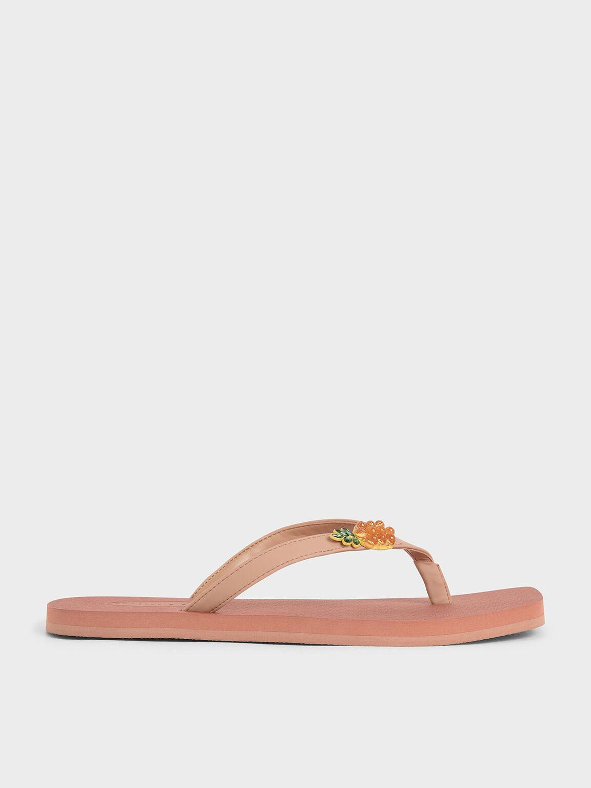Embellished Thong Sandals, Nude, hi-res