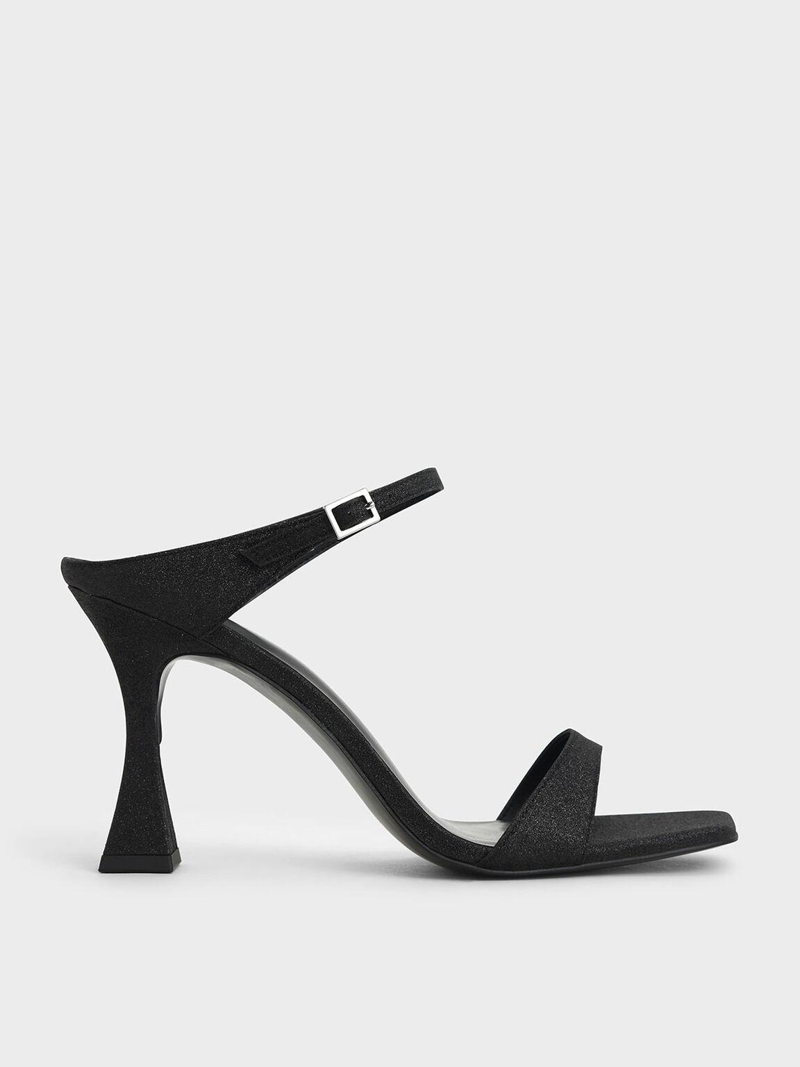 Glitter Sculptural Heel Mules, Black, hi-res