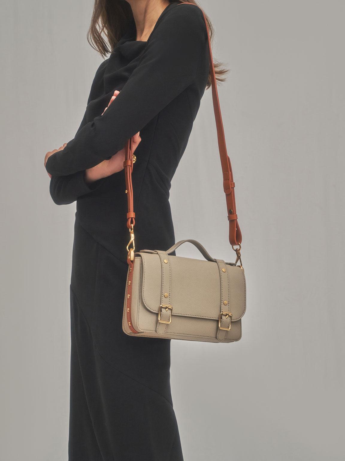 Satchel Messenger Bag, Sand, hi-res