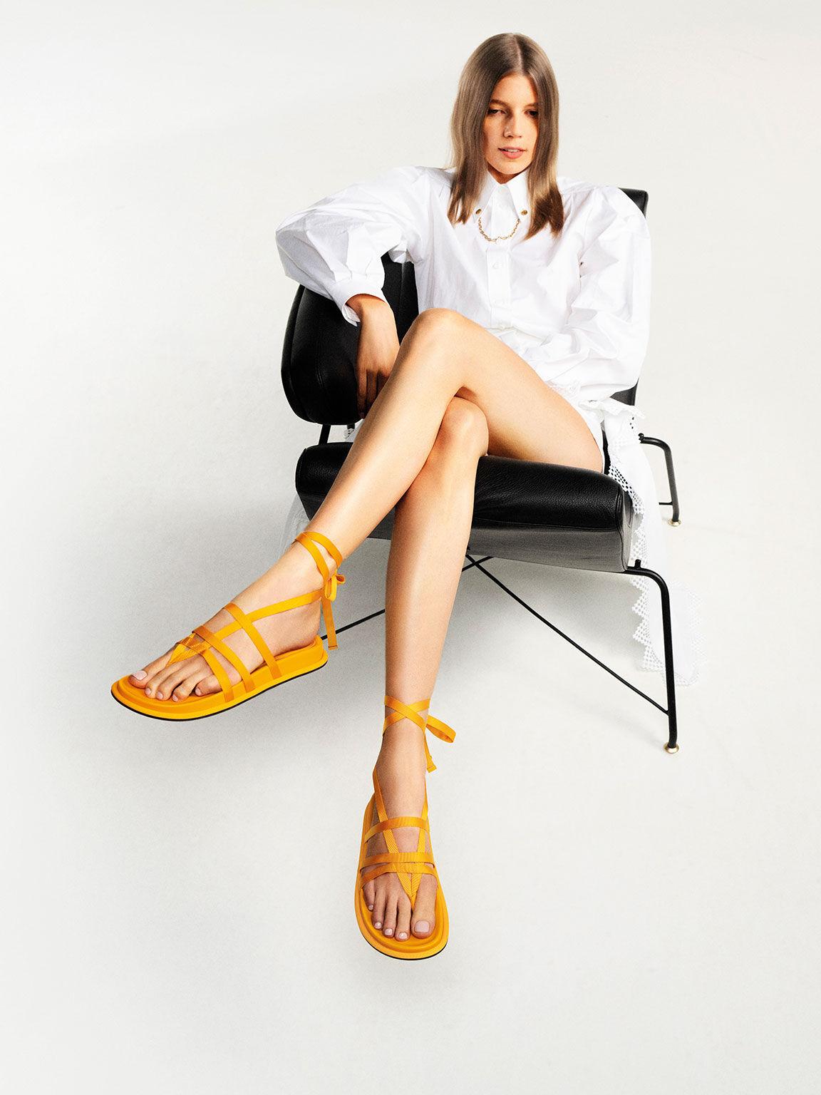 Grosgrain Tie-Around Thong Sandals, Yellow, hi-res