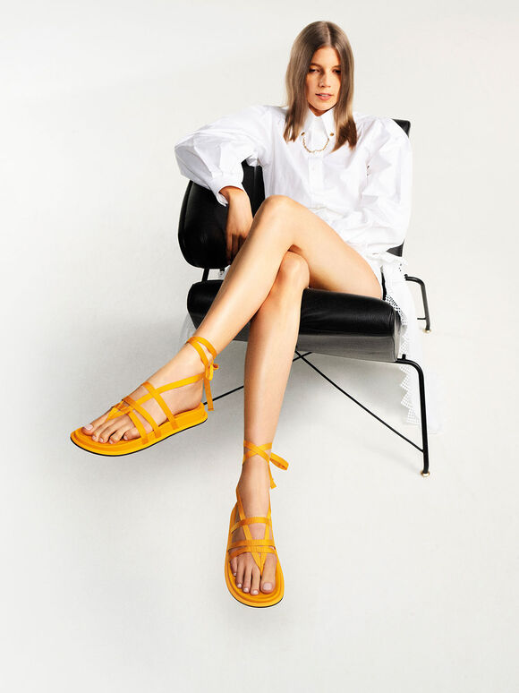 Grosgrain Tie-Around Thong Sandals, Yellow, hi-res