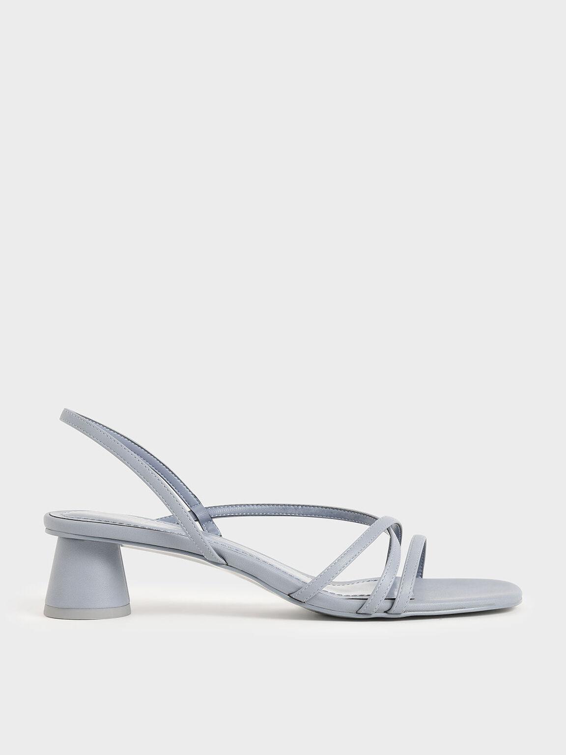 Strappy Cylindrical Heel Sandals, Light Blue, hi-res