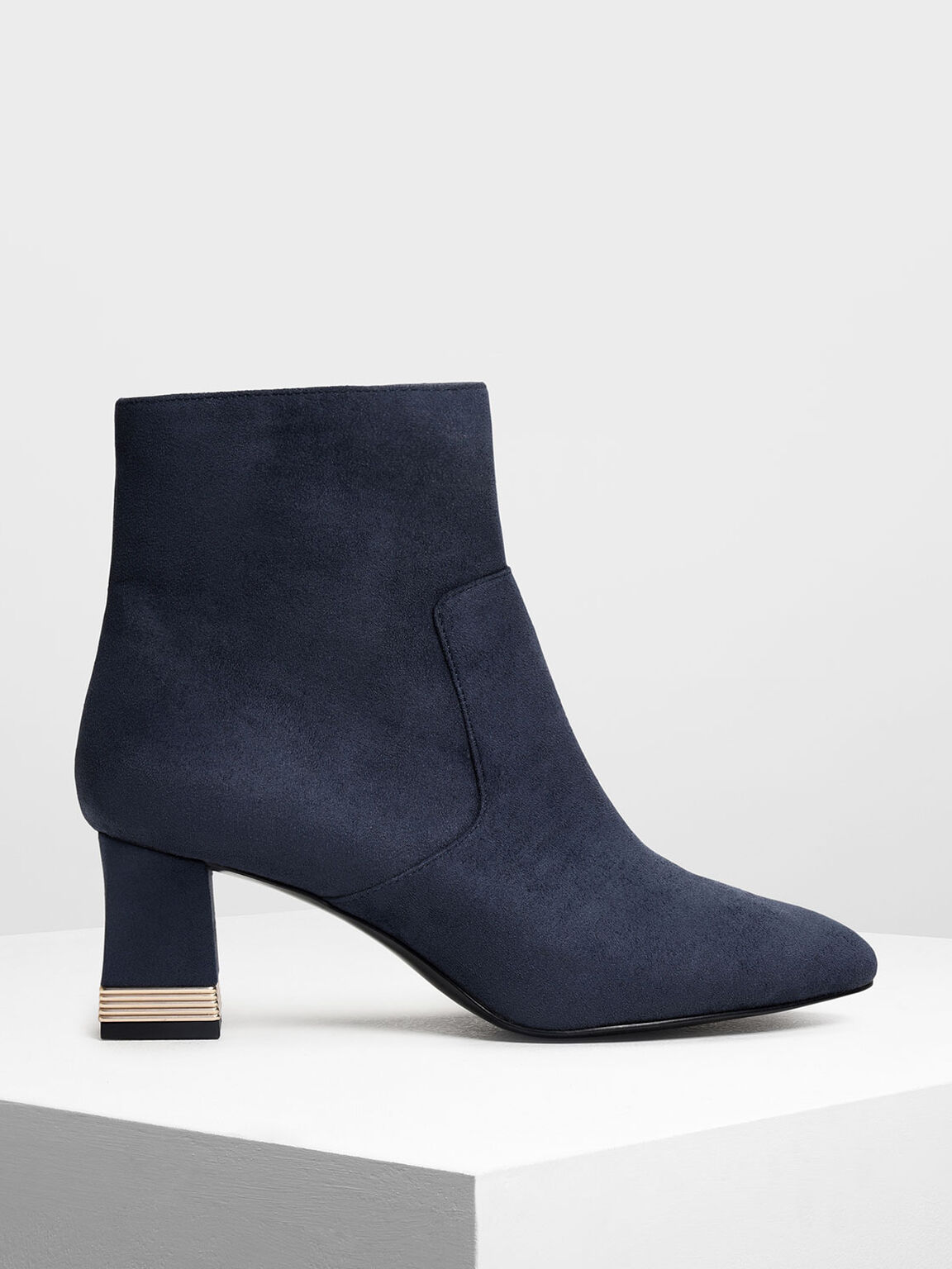 Metallic Accent Heel Boots, Dark Blue, hi-res