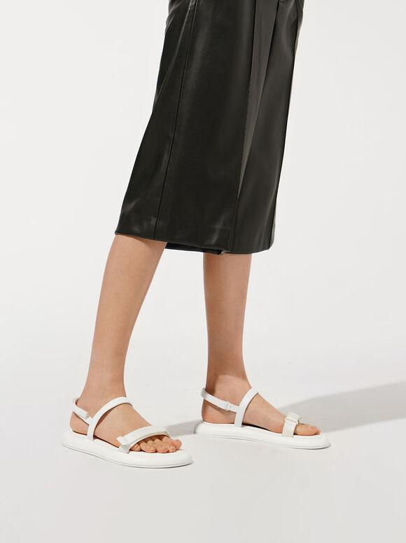 Grosgrain Velcro Strap Sandals, White, hi-res