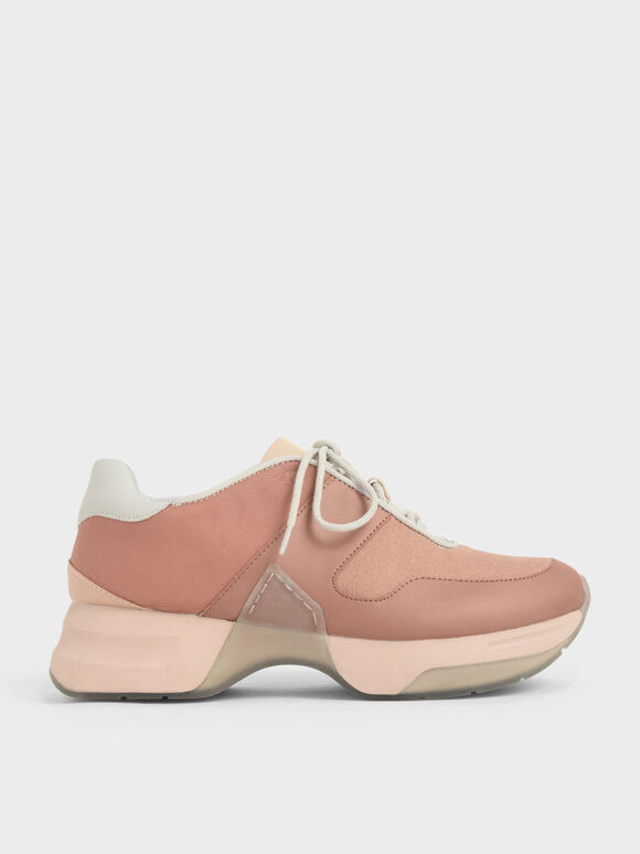 Textured Lace-Up Sneakers, Nude, hi-res