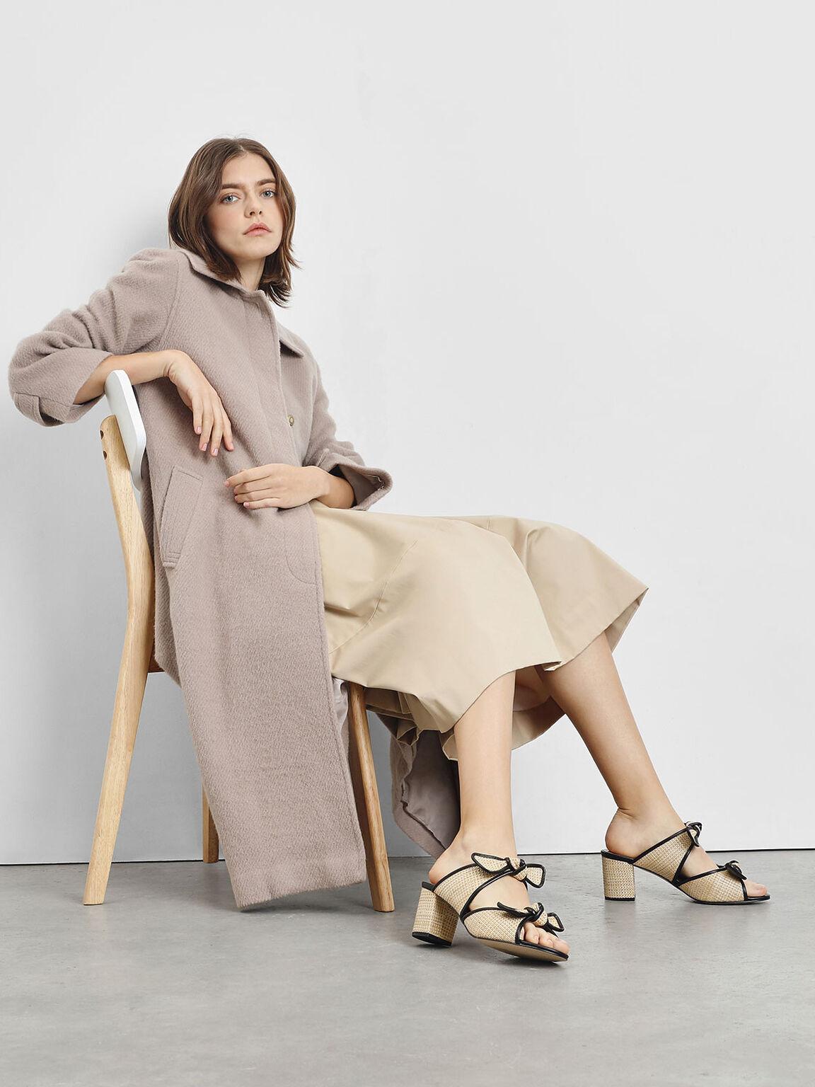 Double Bow Raffia Heeled Slide Sandals, Beige, hi-res
