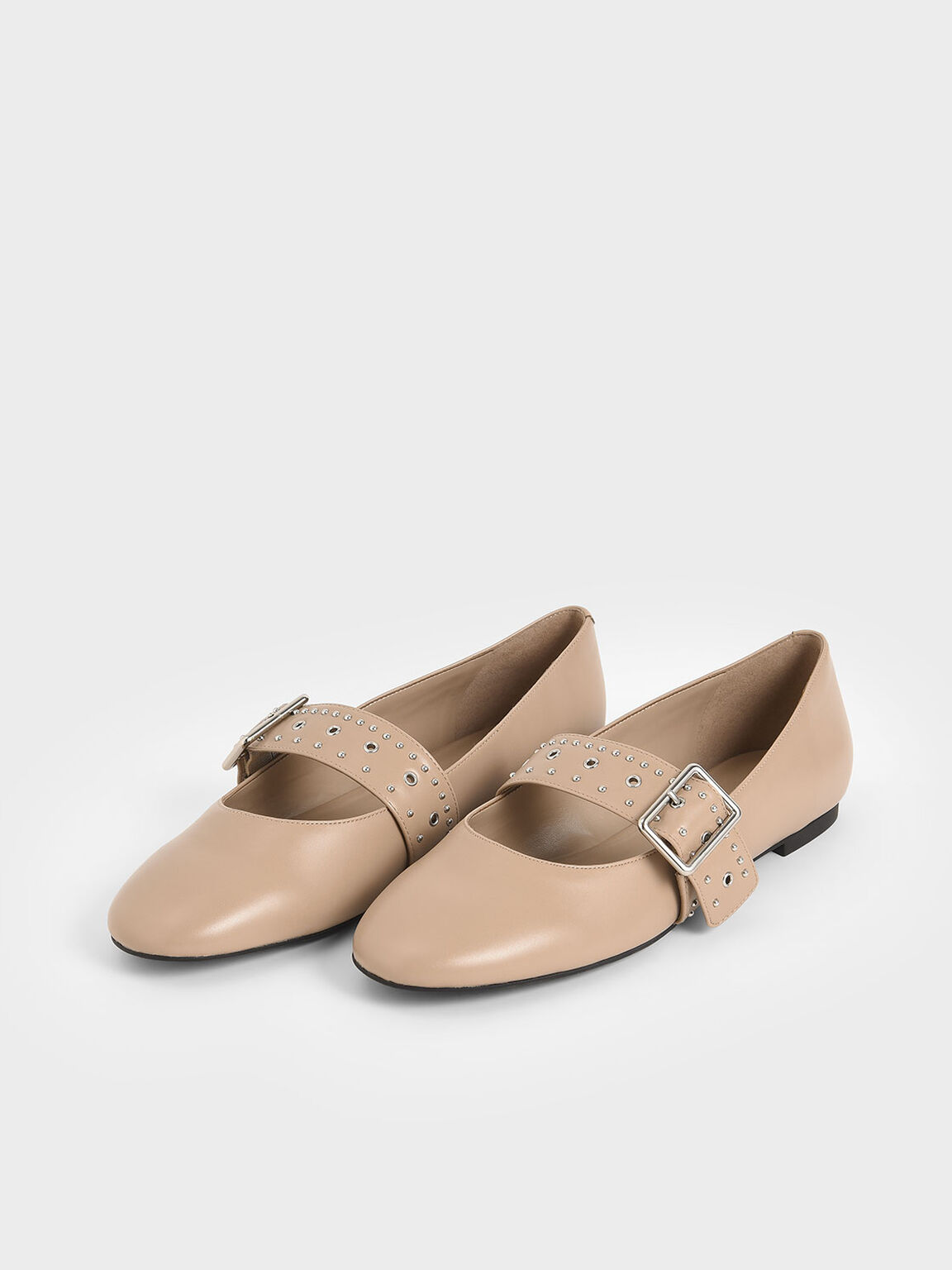 Studded Mary Jane Flats, Nude, hi-res