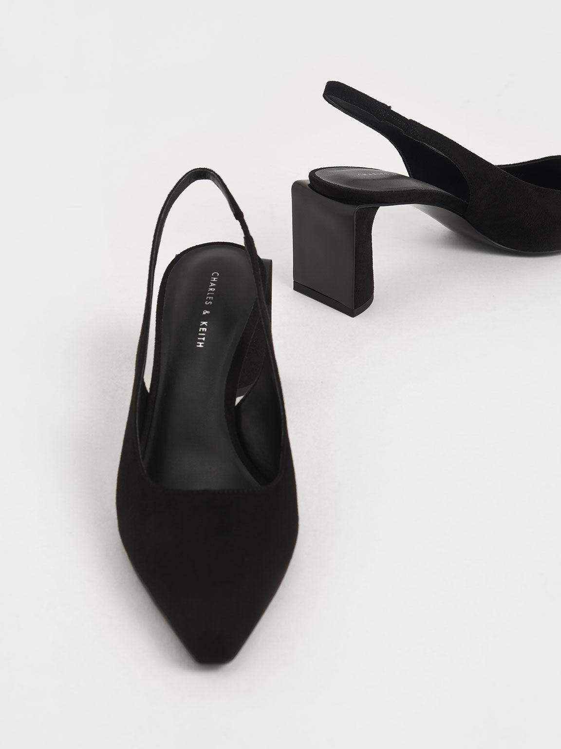 Textured Half Moon Slingback Court Shoes, Black, hi-res