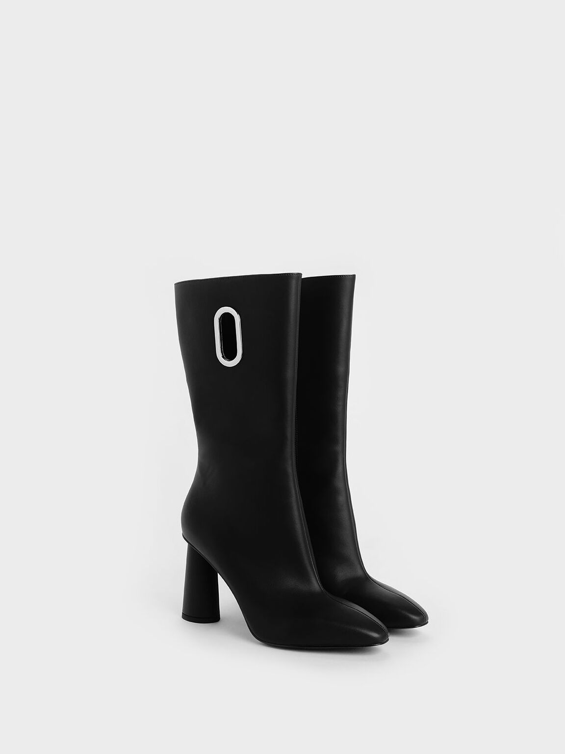 Eyelet Detail Cylindrical Heel Calf Boots, Black, hi-res