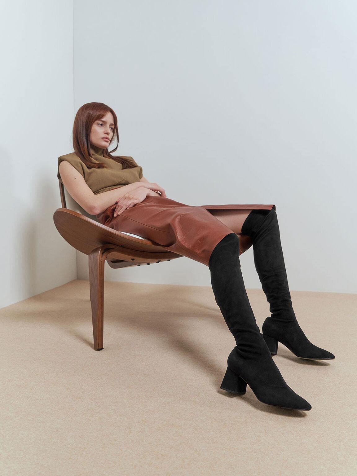 Textured Thigh High Boots, Black, hi-res
