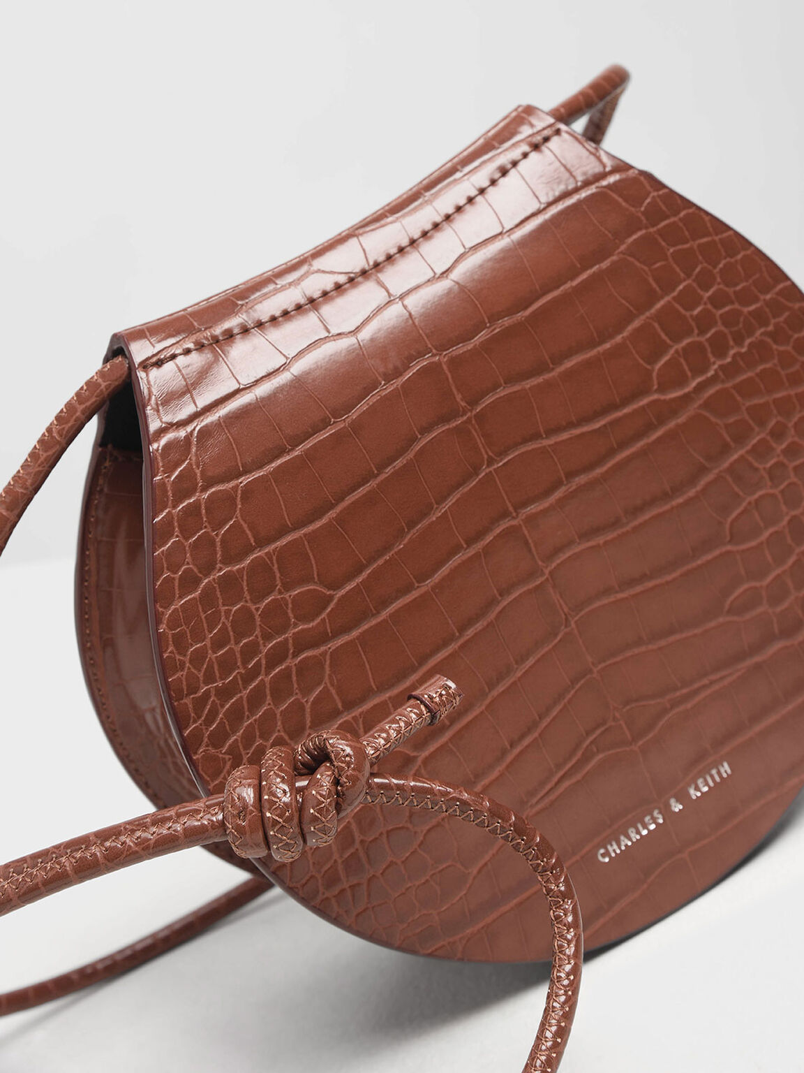 Semi Circle Croc-Effect Crossbody Bag, Burgundy, hi-res