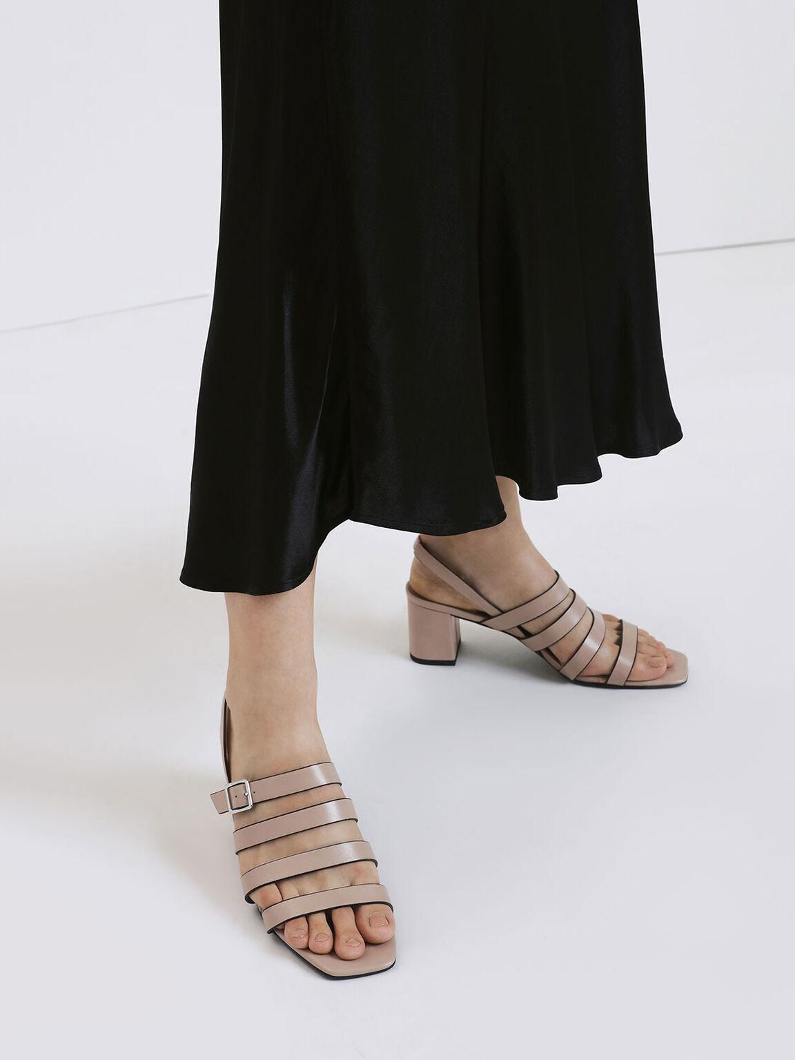 Strappy Block Heel Slingback Sandals, Nude, hi-res