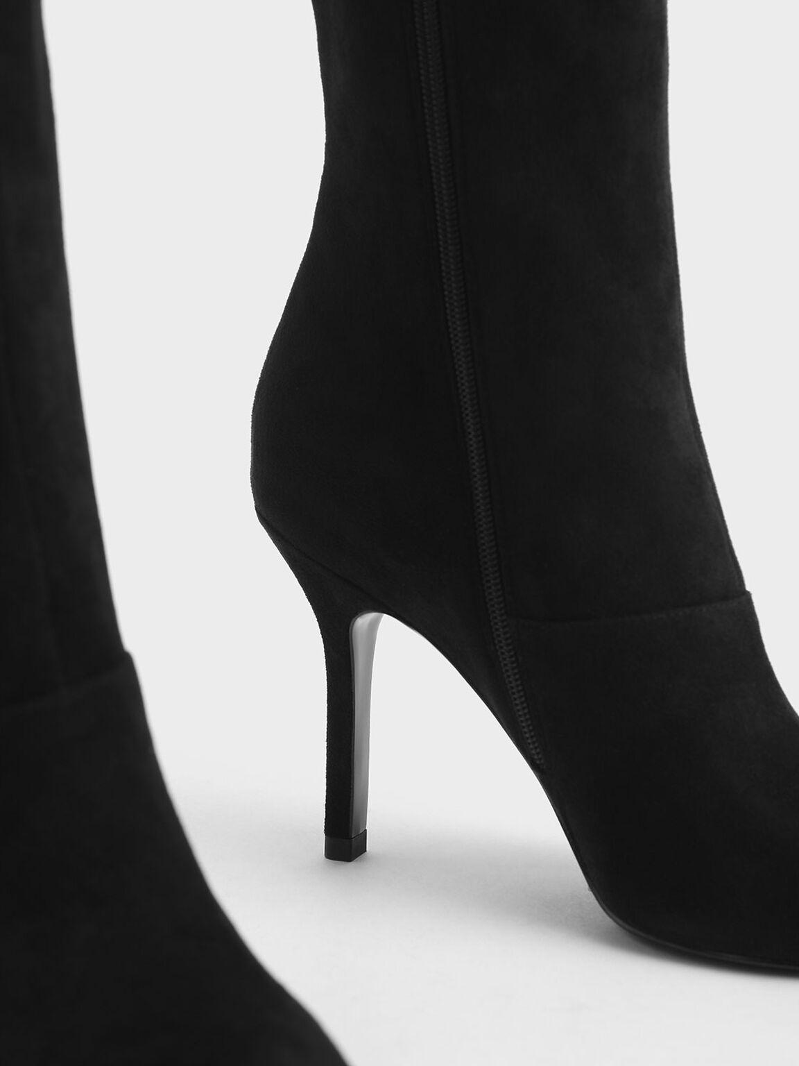 Textured Knee High Boots, Black Textured, hi-res