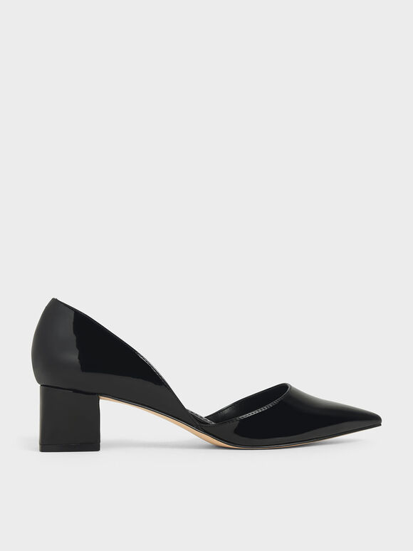 Patent D'Orsay Block Heel Pumps, Black, hi-res