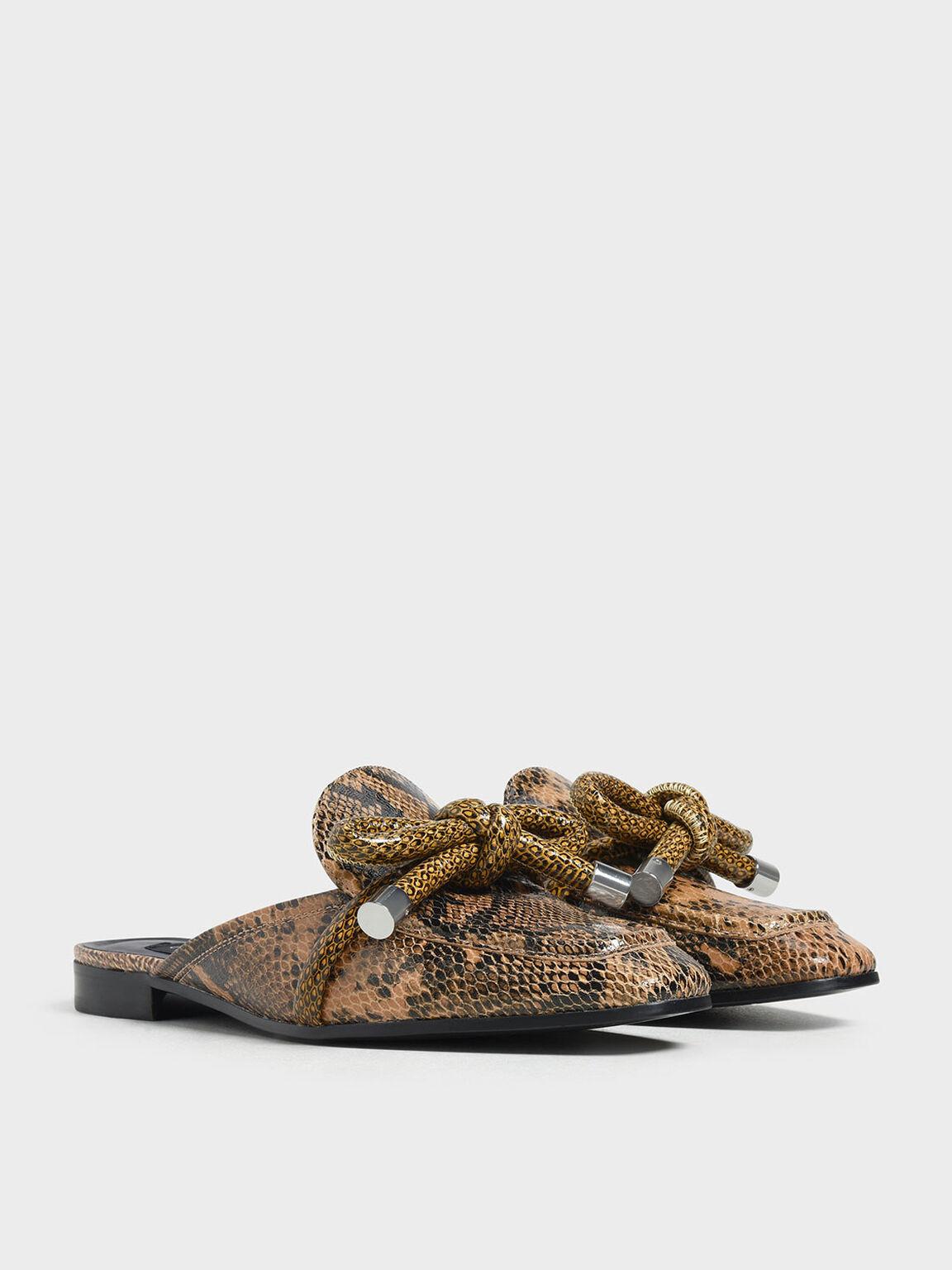 Snake Print Bow Mules, Multi, hi-res