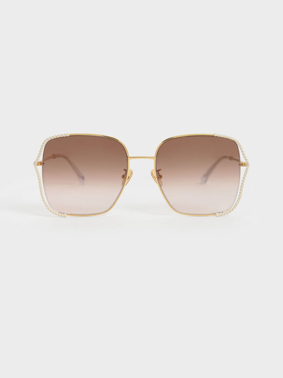 Tinted Butterfly Sunglasses, Cream, hi-res