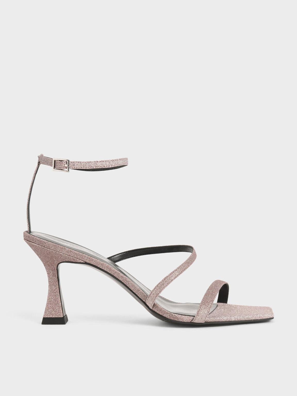 Glitter Sculptural Heel Sandals, Pink, hi-res
