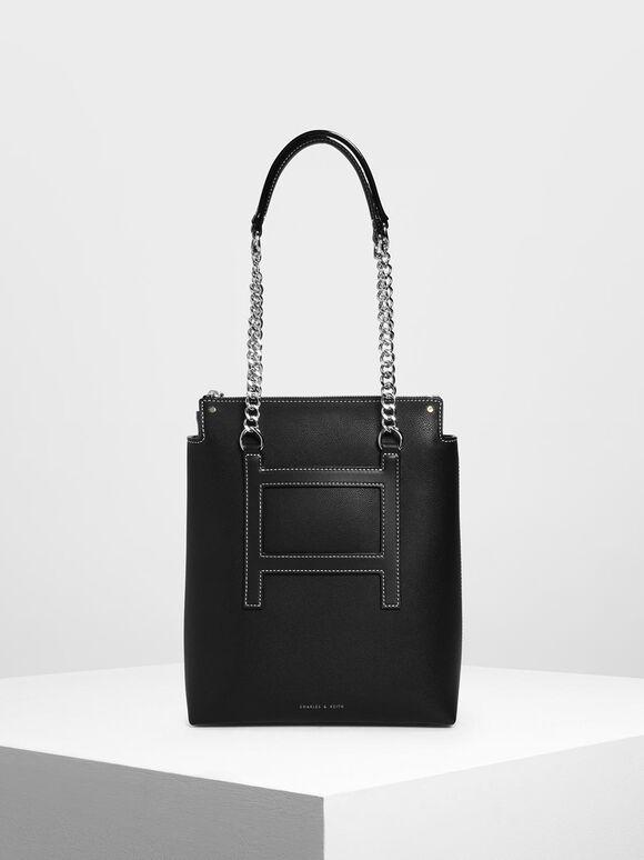 Long Chain Tote Bag, Black, hi-res