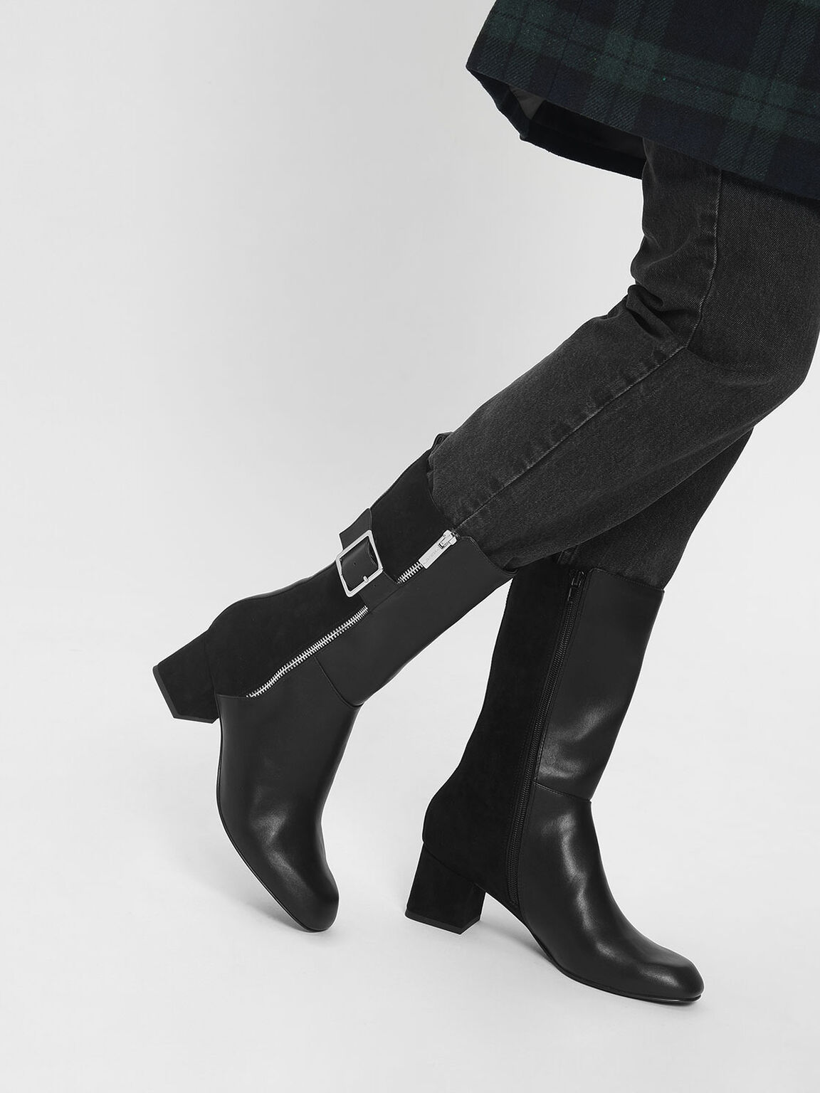 Buckle Detail Calf Boots, Black, hi-res