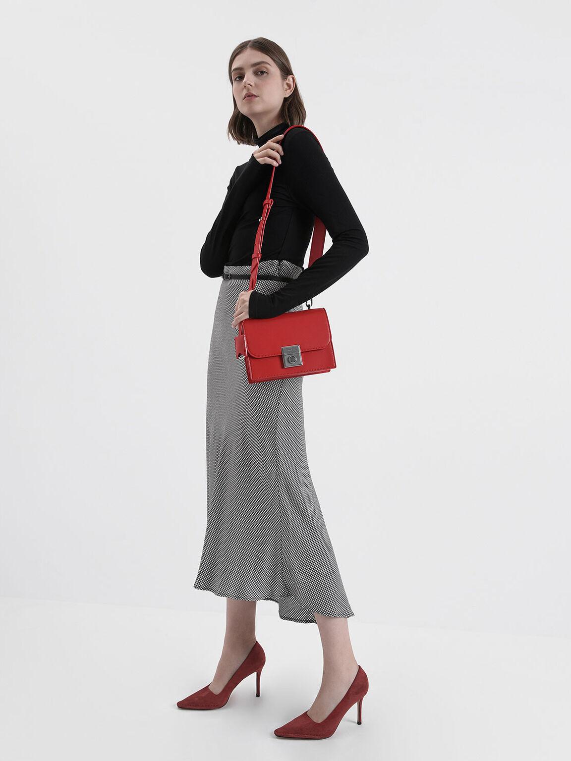 Stitch Trim Textured Stiletto Pumps, Red, hi-res
