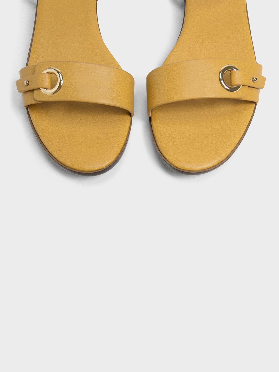 Eyelet Detail Ankle Strap Flats, Mustard, hi-res