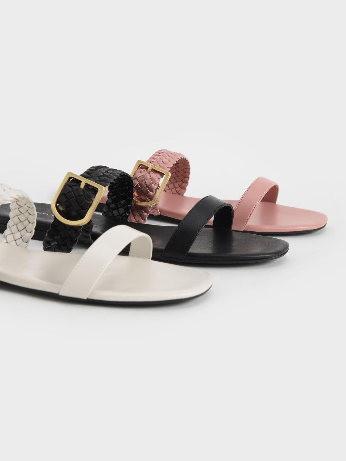 Woven Strap Slide Sandals, Pink, hi-res
