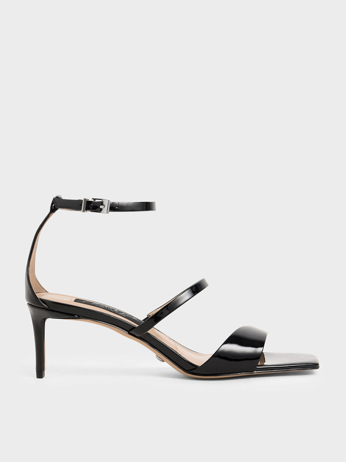 Patent Leather Strappy Heeled Sandals, Black, hi-res