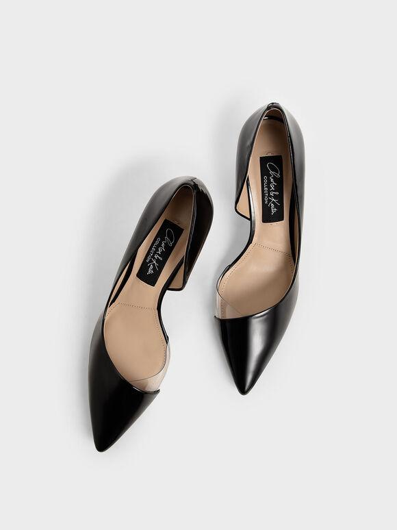 Patent Leather D'Orsay Pumps, Black, hi-res