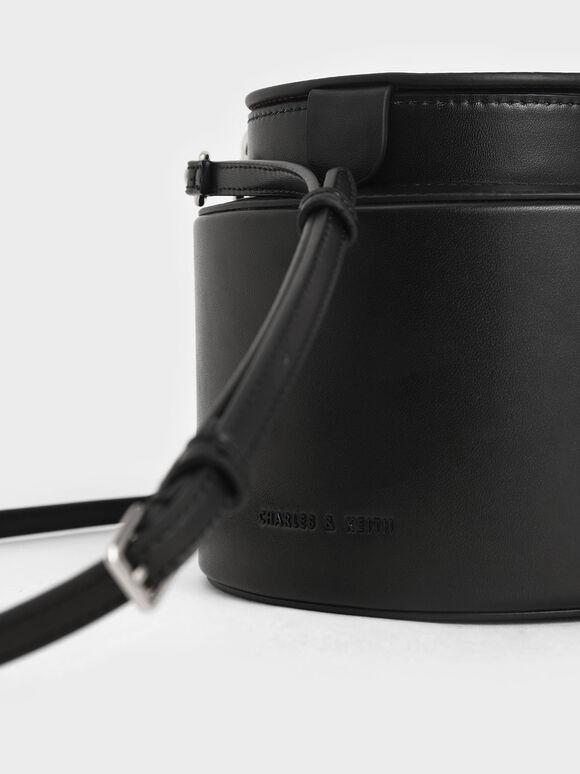 Cylindrical Bucket Bag, Black, hi-res