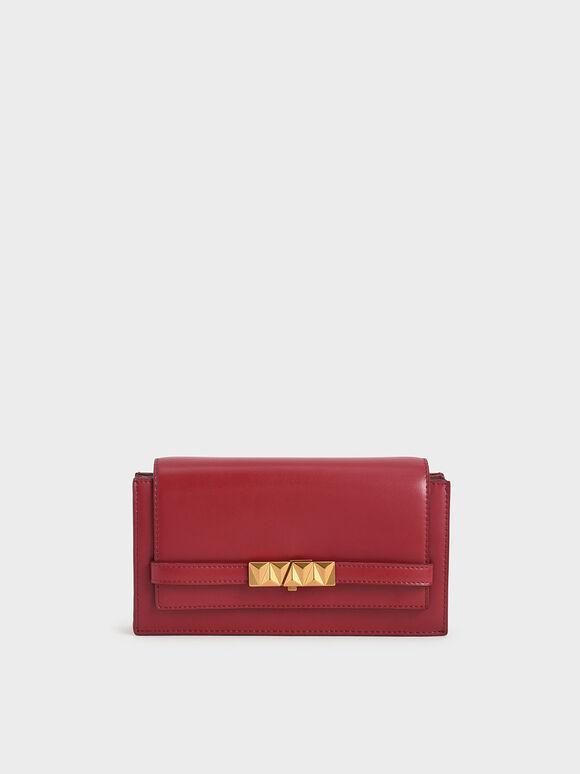 Metallic Push-Lock Wallet, Red, hi-res