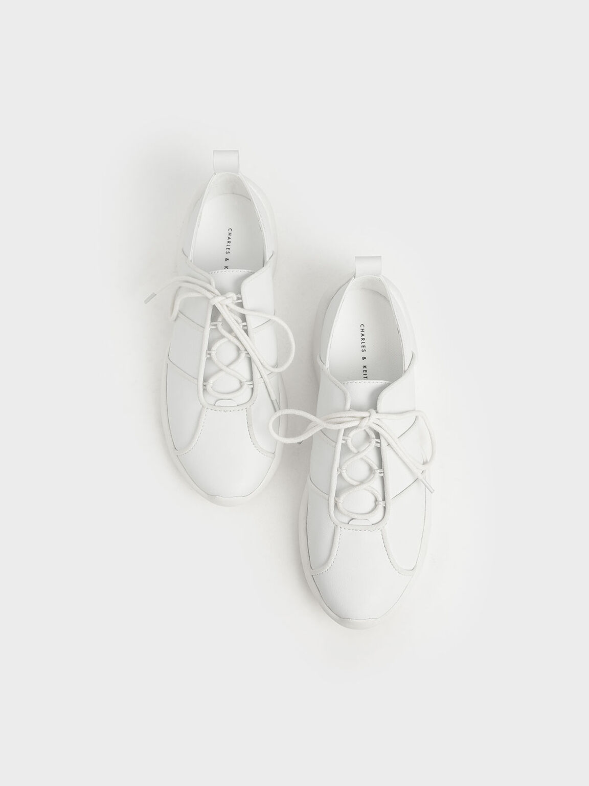 Lace-Up Sneakers, White, hi-res