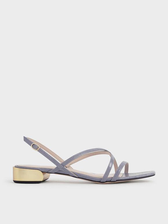 Metallic Accent Strappy Sandals, Animal Print Blue, hi-res