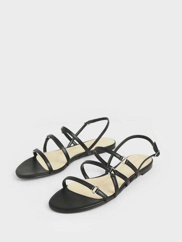 Tri-Strap Slingback Sandals, Black, hi-res