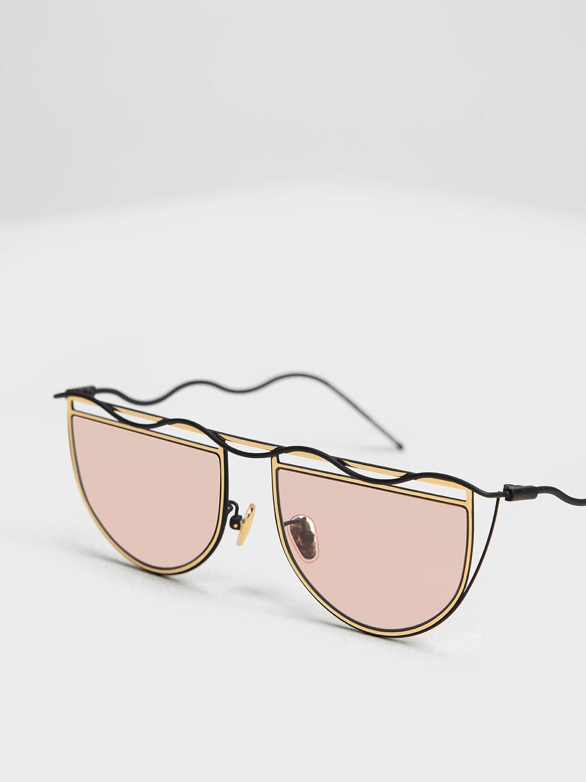 Drop Temple Semi-Circle Sunglasses, Gold, hi-res