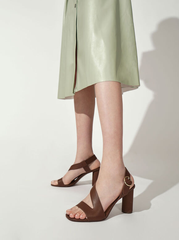 Asymmetric Strap Heeled Sandals, Brown, hi-res