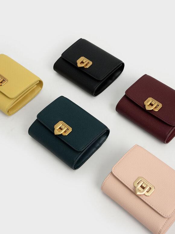 Classic Push-Lock Mini Wallet, Green, hi-res