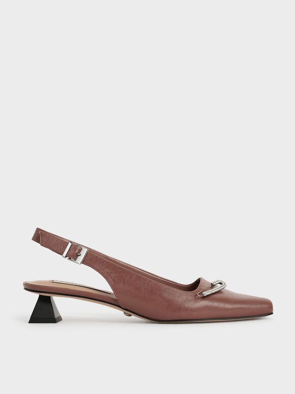 Gem-Embellished Leather Slingback Court Shoes, Tan, hi-res