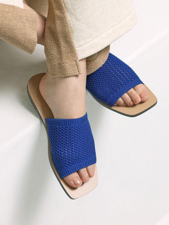 Knitted Asymmetric Slides, Blue, hi-res