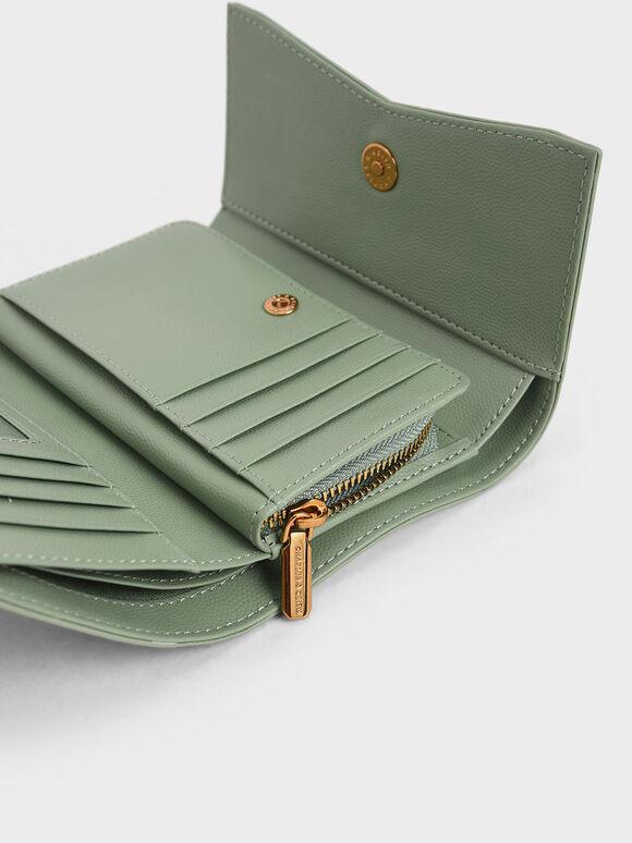 Metallic Accent Envelope Short Wallet, Sage Green, hi-res