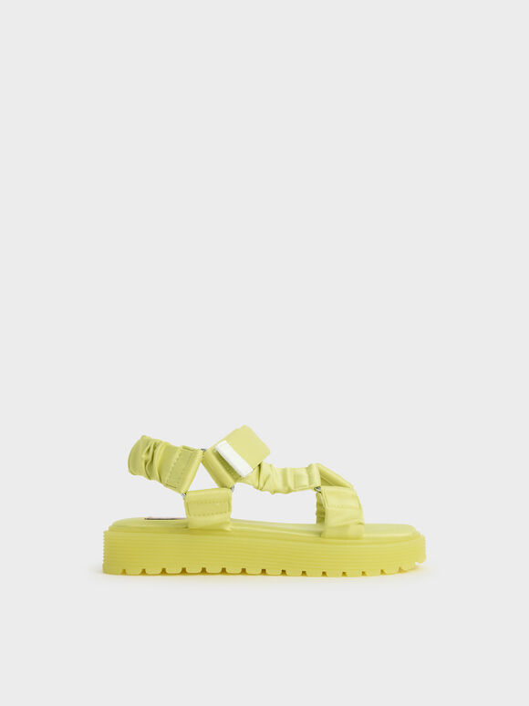 Girls' Fabric Ruched Sports Sandals, Yellow, hi-res